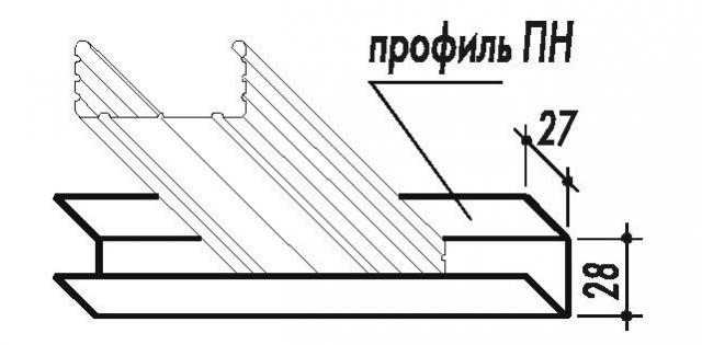 профиль направляющийпотолочный Кнауф ППН 28х27х0,6мм