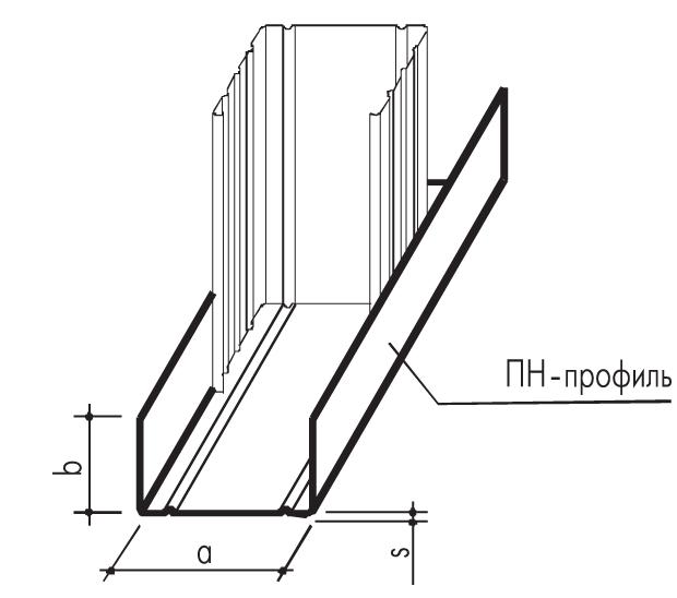 Металлическийпрофиль направляющий ПН 50х40х0,6мм (3000мм)